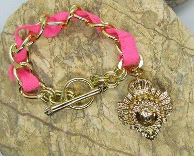 Juicy Couture GOLD Tone FISH makeup charm hidden compartment Toggle Bracelet