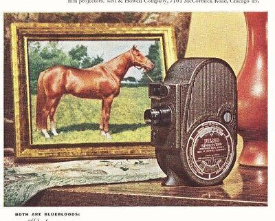1947 Ad~ Bell & Howell Movie Camera~ WHIRLAWAY RACE HORSE~Kentucky Derby Winner