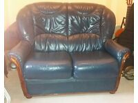 Leather two seater settee Sofa Blue. ***Free Delivery***