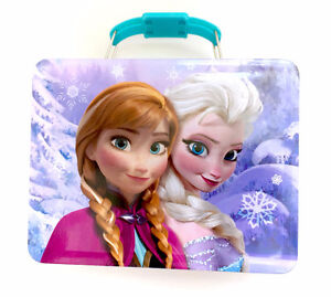Disney Frozen Tin Aluminum Lunch Storage Box Anna Elsa Olaf With