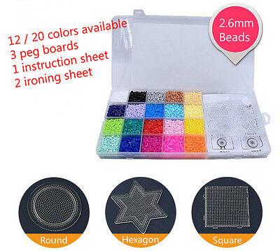 2.6mm Fuse Perler Hama Beads Refill Pack & 3 pegboards Stater Kit Kids - Perler Beads Kit