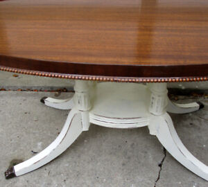 ANTIQUE SHABBY CHIC 2 TONE OVAL COFFEE TABLE - 1 OF A KIND