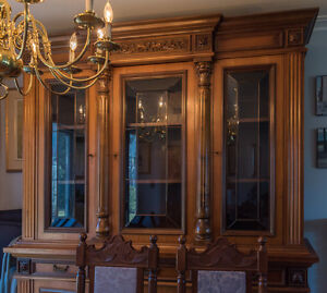 Italian Florentine style hutch, dining table and 6 chairs set