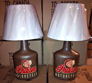 VINTAGE CUSTOM MADE INDIAN MOTORCYCLE OLD WHISKY BOTTLE LAMP