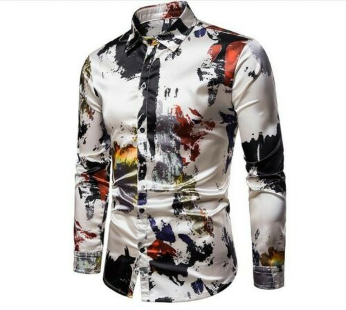 Mens Slim Fit Floral Dress Long Sleeve Leisure Shirt Stylish Lapel Collar T-shir
