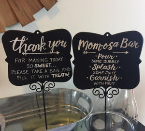 Party Supplies - vases, custom signs, platter/bowl/tiered stand