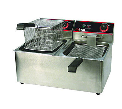 Winco Eft-32 32 Lb Electric Countertop Double Well Deep Fryer