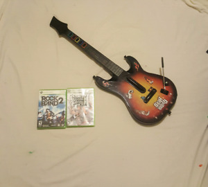 Wireless Xbox 360 Guitar Hero with 2 Games