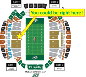 Riders vs Lions Oct 27 GREAT SEATS 8 rows up from Riders Bench