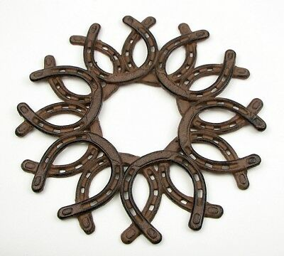 Cast Iron Horseshoe Wreath Horse Decor All Occasion Christmas Holiday Gift Idea - Horseshoe Decoration Ideas