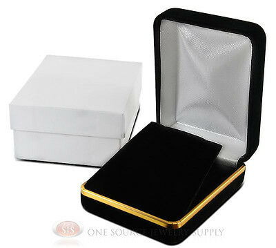Black Velvet Earring Pendant Metal Jewelry Gift Box 2 14w X 3d X 1 14h