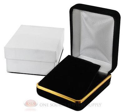 Black Velvet Earring Pendant Metal Jewelry Gift Box 2 14w X 3d X 1 14h