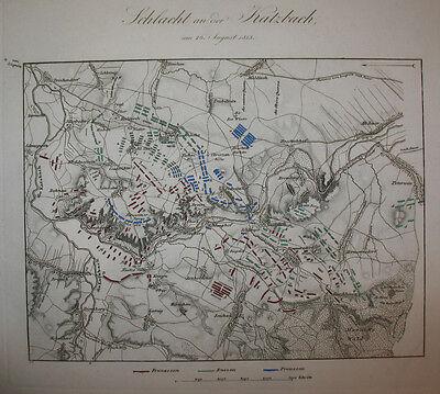 1840 Liegnitz Katzbach Napoleon Befreiungskriege Kolorierter Kupferstich-Plan