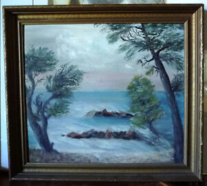 "Seascape,Original Oil ""Approaching Storm"" Vintage Painting, 1930"