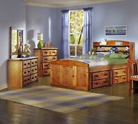 Twin or Double Captains Bedroom Set!  Solid Pine!
