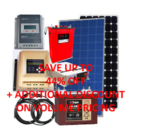Solar panels, controllers, inverters, batteries, cables, kits