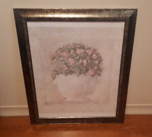Very Pretty Framed Print - Flowers In A Basket, Frame Is Lovely