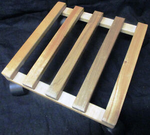 """New Tosnail Pine Wood Square Plant Dolly with Roller, 10"""" x 10"""""""
