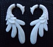 White Peacock Feather Earrings