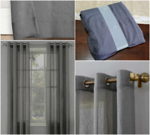 2 Sets of grey crushed sheer curtains $15/each set
