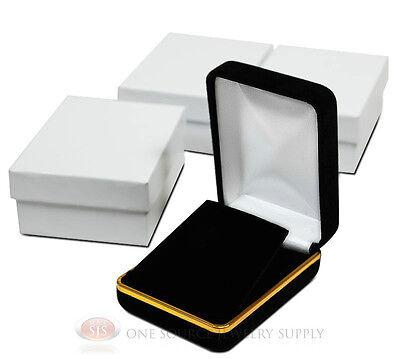 3 Piece Pendant Earring Black Velvet Jewlery Gift Boxes 2 14w X 3d X 1 14h