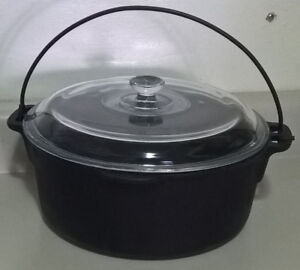 Wagner's 1891 Original Cast Iron 5 Quart Dutch Oven w/ Glass Lid