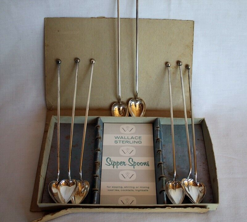 8 WALLACE VINTAGE STERLING HEART SHAPED ICE TEA / MINT JULEP SPOONS / STRAWS