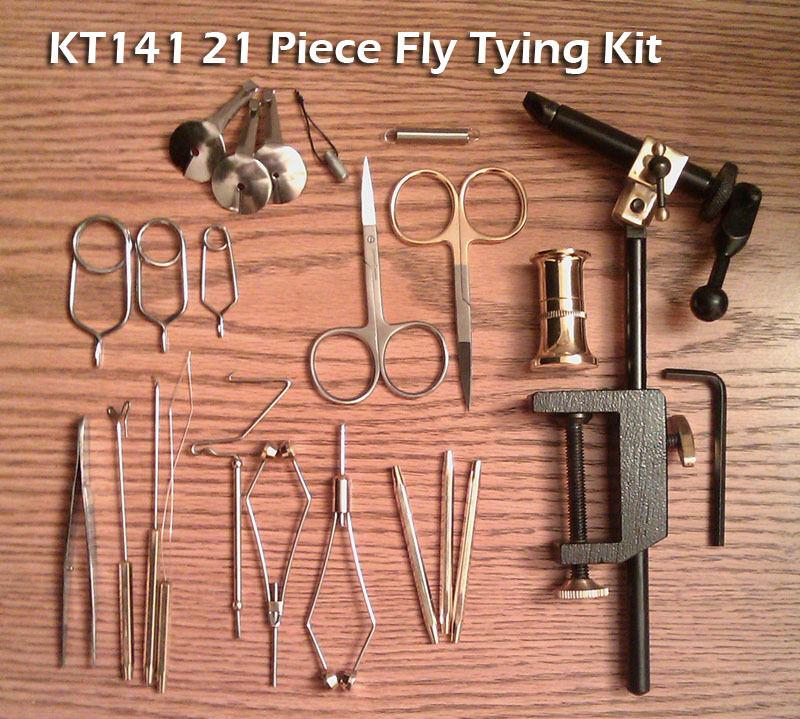21 Peice Fly Tying Tool Kit  w/Rotating  Vise - Premium Scissors - KT141