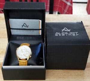 August Steiner Men's Stainless Steel Dual Time Watch