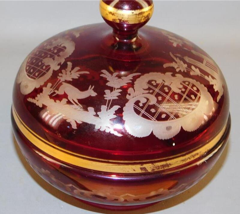 Bohemian Egerman Ruby Red  Etched Glass Deer / Castle Candy Dish