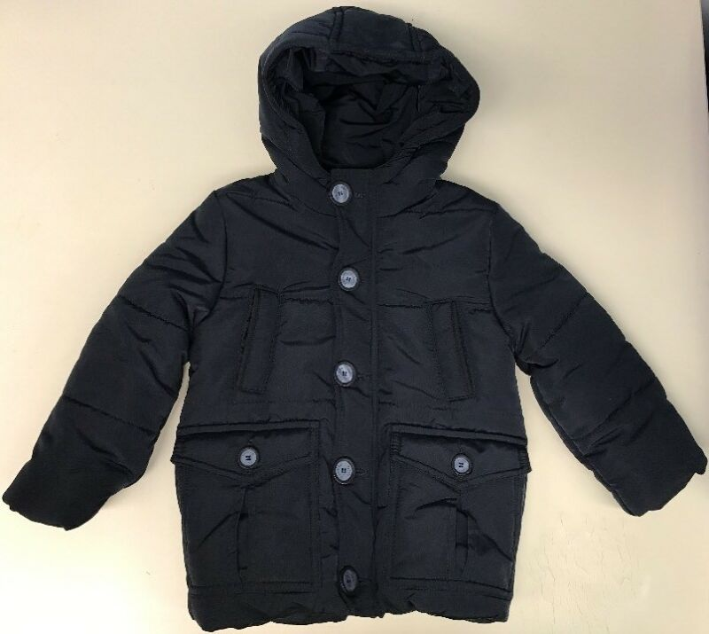 Girl's Hooded  Puffer Coat Size 2-Y Navy full zip button down faux fur lined