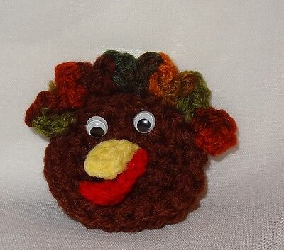 Vintage Crochet Thanksgiving Turkey Head Holiday Pin Handmade Brown Fall  - Falling Head Costume