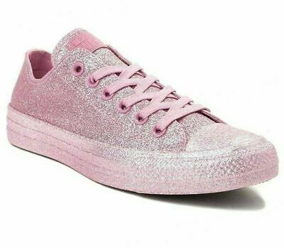 CONVERSE Women's size 9 All Over Pink Glitter Low Top Sneaker Shoes Chuck Taylor