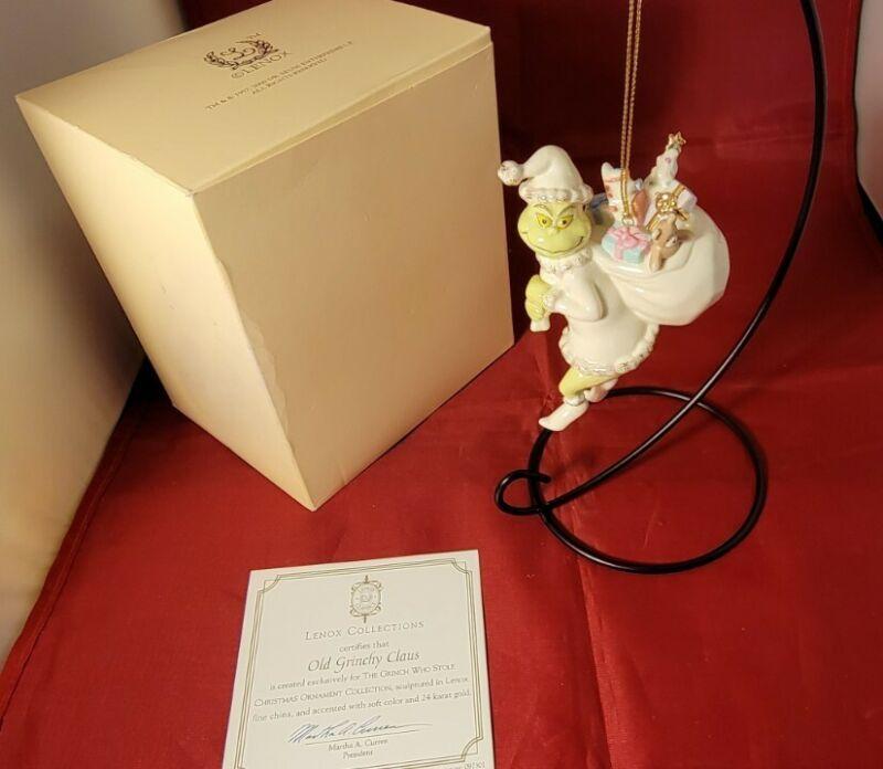 Lenox OLD GRINCHY CLAUS Grinch Christmas Ornament w/ COA & box