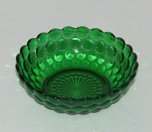 Vintage Dark Emerald Green Depression Glass Hobnail Pattern Bowl