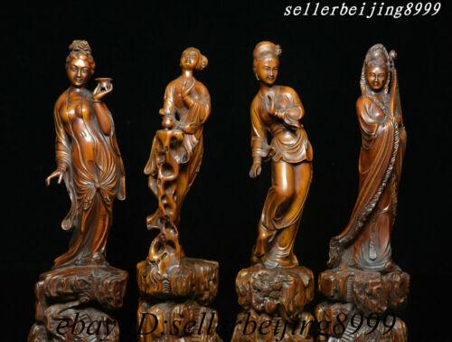 "10"" Auspicious China Boxwood Carving Dynasty 4 Beauties Beauties Goddess Statue"