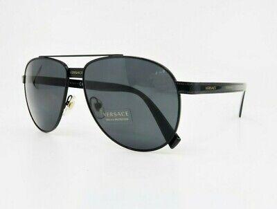 VERSACE Unisex Aviator Black/Gold Sunglasses w/ Box MOD 2209 1009/87 58mm