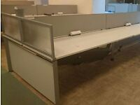 HERMAN MILLER CALL CENTRE DESKING IN WHITE WITH GREY SCREENS - VG CONDION - APPROX 40 DESKS AVAIL
