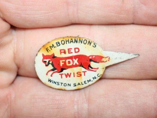 VINTAGE RED FOX WINSTON SALEN NC TIN TOBACCO TAG