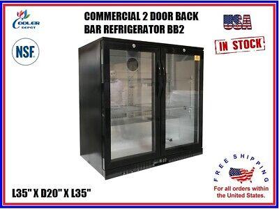 Commercial Back Bar Cooler Refrigerator 2 Door Glass Display L35 X D20 X H35 Nsf