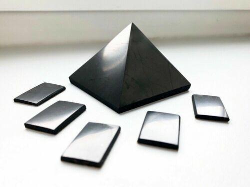 Shungite Pyramid 50 mm + Shungite Plate for Phone Sticker (5 pcs) EMF Protection