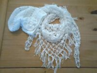 Scarf with hat in white homemade £15.00