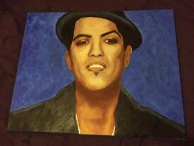 Bruno Mars Original hand painted portrait blue hat pop art, collectible painting