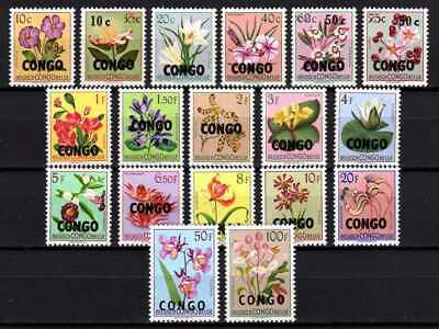 Belgisch Congo Belge Rep. Congo Kinshasa n° 382/399 MNH Flowers Ovptd c80.00Eu.