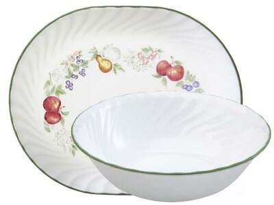 Corning CHUTNEY FRUIT *Choice of: 1-Qt SERVING BOWL or PLATTER *White Swirl (Corelle Microwave Safe Platter)