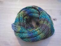 Shawl in green-purple-blue homemade £10.00