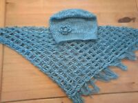 Scarf with hat in metallic blue homemade £20.00
