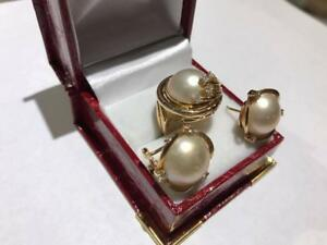 #1405 Mabe Pearl & Diamond Fancy Cocktail Ring with Matching Omega Clip Earrings. Appraisal $4,150