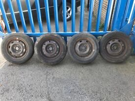 "**4 x 14"" Rover 25 MG ZR Steel Wheels With Tyres - 4x100**"
