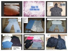 ladies clothes size 18 prices on pictures or £45 for the lot (inc gym bundle)